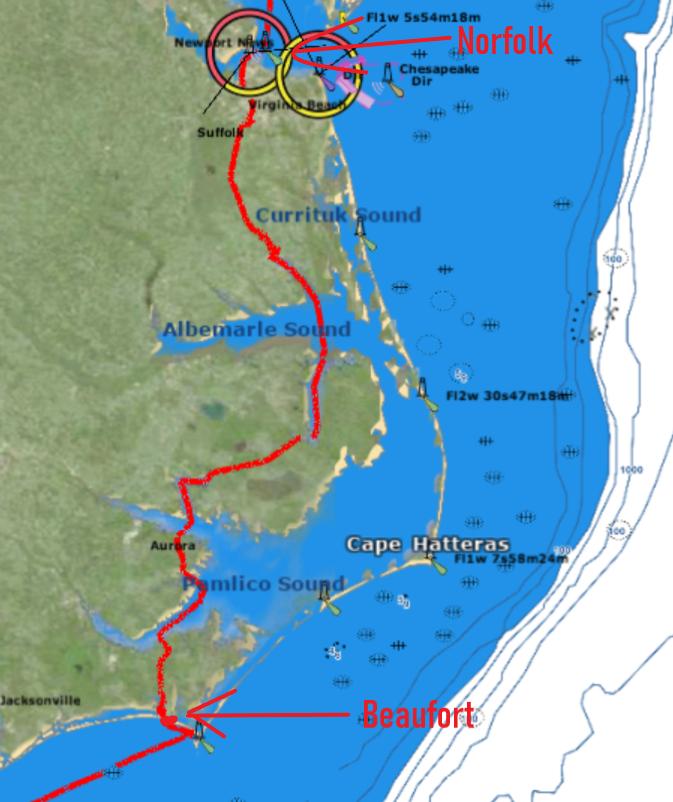 notre itinéraire depuis Beaufort jusqu'à la baie de Chesapeake